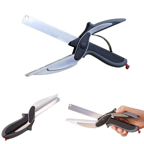 2 in 1 Stainless Steel Smart Kitchen Scissor for Cutting Vegetables & Fruits