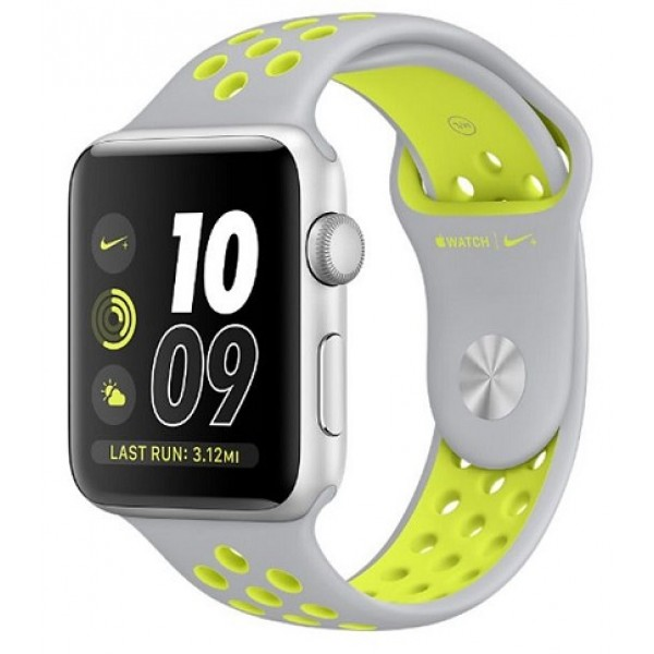 Apple Watch Series 2 Nike+ - MNYQ2 - 42mm Silver Aluminum Case with Flat Silver/Volt Nike Sport Band