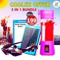3 IN 1 Combo - 4 Blade Portable Juicer + 35,000 mAh Solar power bank + Bluetooth sunglasses