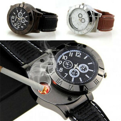 USB Cigarette Lighter Flameless Windproof Mens Watch