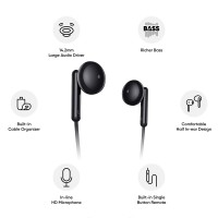 Realme Buds Classic Wired Earphones with HD Microphone Black