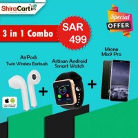 3 IN 1 Combo - Mione mix 9 Pro, Fingerprint, 4GB Ram, 64GB + Twin Wireless Earbuds + Artison Android Smart watch