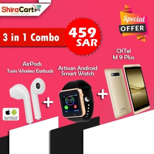 3 IN 1 Combo - Cktel M9 Plus, Dual Sim, 4G LTE, 2GB RAM, 16GB [Gold] + Twin Wireless Earbuds + Artison Android Smart watch