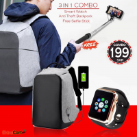 3 IN 1 Combo - Anti Theft travel bag + Android Smart watch + Selfie Stick
