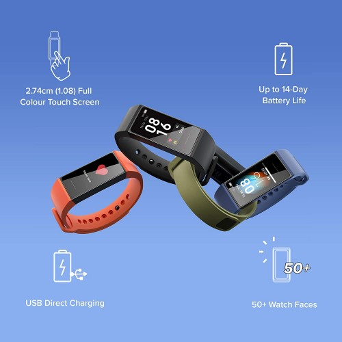 Redmi Smart Band 4c - (Direct USB Charging, Full Touch Colour Display, Upto 14-Day Battery Life, Works with Xiaomi Wear App)